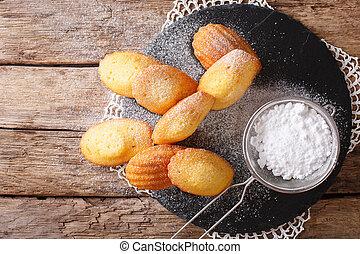 Cookies of Madeleine with sugar powder close-up on the...