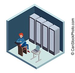 Data center icon, system administrator. Man sitting at the...