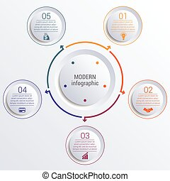 infographic diagram with 5 options circles. - Vector...