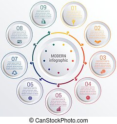 infographic diagram with 9 options circles. - Vector...