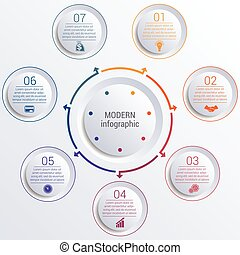 infographic diagram with 7 options circles. - Vector...