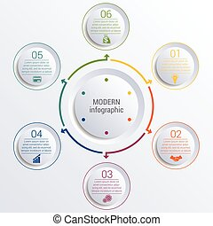 infographic diagram with 6 options circles. - Vector...