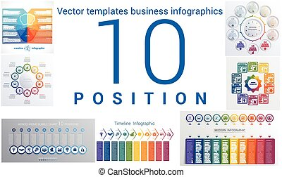 Templates business infographics 10 positions - Set colorful...