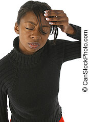 Stressed Out - Attractive 20 year old african american woman...