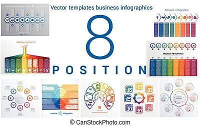 Templates business infographics 8 positions - Set colorful...