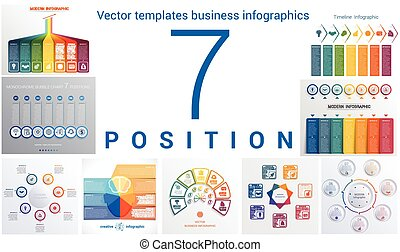 Templates business infographics 7 positions - Set colorful...