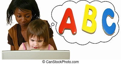 ABCs - Woman teaching young child alphabet on computer over...