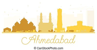 Ahmedabad City skyline golden silhouette. Vector...