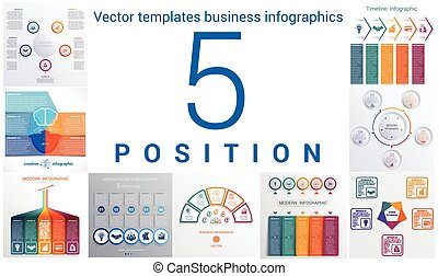 Templates business infographics 5 positions - Set colorful...