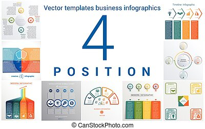 Templates business infographics 4 positions - Set colorful...