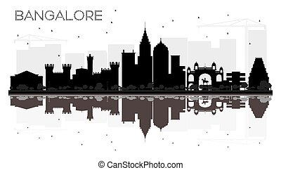 Bangalore City skyline black and white silhouette with...