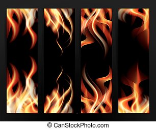 Banner Set with Fire Flames. Vector Illustration.