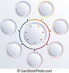 Seven circles round circle - Template for infographic...