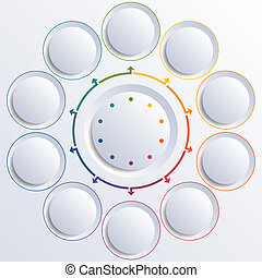 Ten circles round circle - Template for infographic diagram...