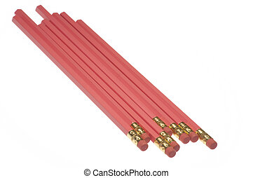 Grouping of pink pencils isolated on a white background...
