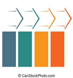 Timeline infographic 4 color arrows - Set horizontal color...