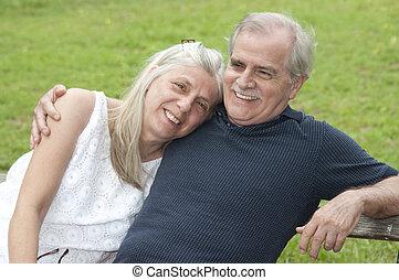 a, glücklich, Paar, ihr, früh, Pensionierung,...