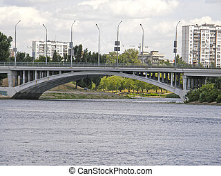 The bridge to Rusanivka and the Dnieper River. Kiev....