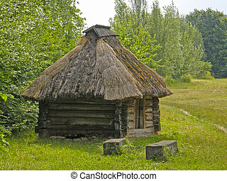 An old wooden house under thatched roof. Museum of Pirogovo....