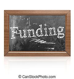 Funding text written on blackboard, 3D rendering