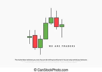 we are - stock chart logotype with japanese candles pattern....