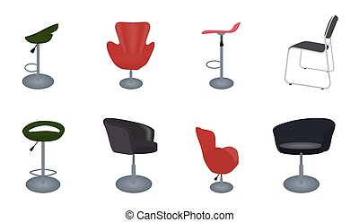 Set of modern and antique furniture comfortable chairs and bar