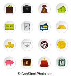 Money icons set, flat style - Money icons set. Flat...