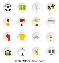 Soccer football icons set in flat style isolated icons set...