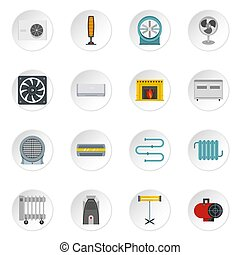 Heating cooling air icons set in flat style isolated icons...