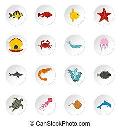 Sea animals icons set in flat style isolated icons set...