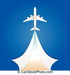 airplane flight on the sky illustration