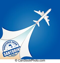 airplane with santorini grunge rubber illustration in...
