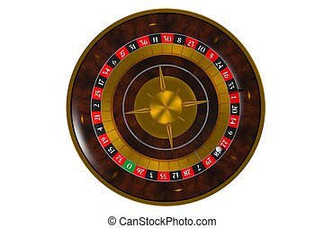 Isolated 3D Roulette Wheel - Isolated on Solid White 3D...