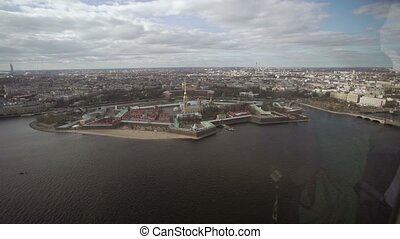 Aerial view from helicopter of Saint-Petersburg city