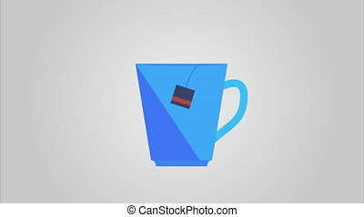 Cup of tea icon, art video illustration.