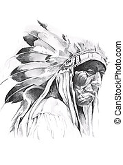 Sketch of tattoo art, indian head