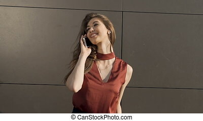 Kindly Talking by Phone - Sexy happy brunette with long hair...