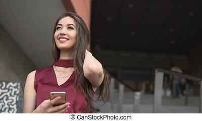 Brunette Holding Phone