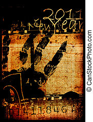 2011 year - Vintage background with 2011 new year
