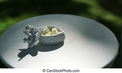 Box for wedding rings outdoors
