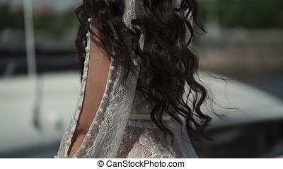 Woman in lingerie on yacht - Woman brunette in lingerie on...