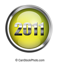 New year illustration - 2011 chrome number on green button,...