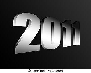 New year - 2011 chrome number on black background, 3d image