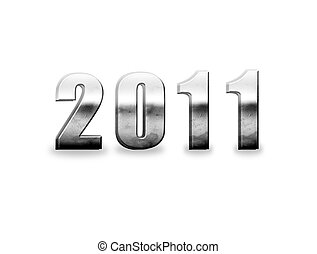 New year - 2011 chrome numbers isolated on white, new year...