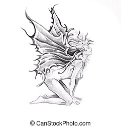 Sketch of tattoo art, nude fairy