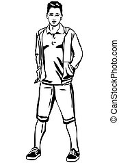 vector sketch of a young man in short pants