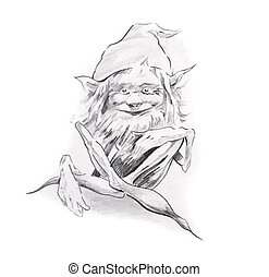 Sketch of tattoo art, gnome