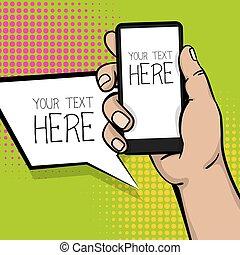 Pop art cartoon man hand smart phone