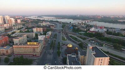 Aerial cityscape view buildings downtown in Novosibirsk -...