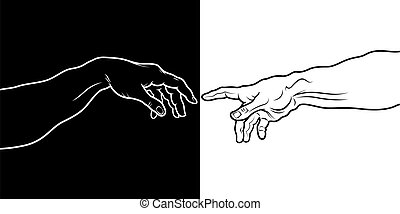 The Creation of Adam (fragment) black & white - «Creatio...